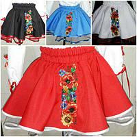 Юбка детская с вышивкой красного цвета, 3-12 лет, фото 1