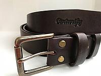 Мужской кожаный ремень под джинсы Cinturify. Длина 105-130 см. Ширина 4см. Цвет коричневый.