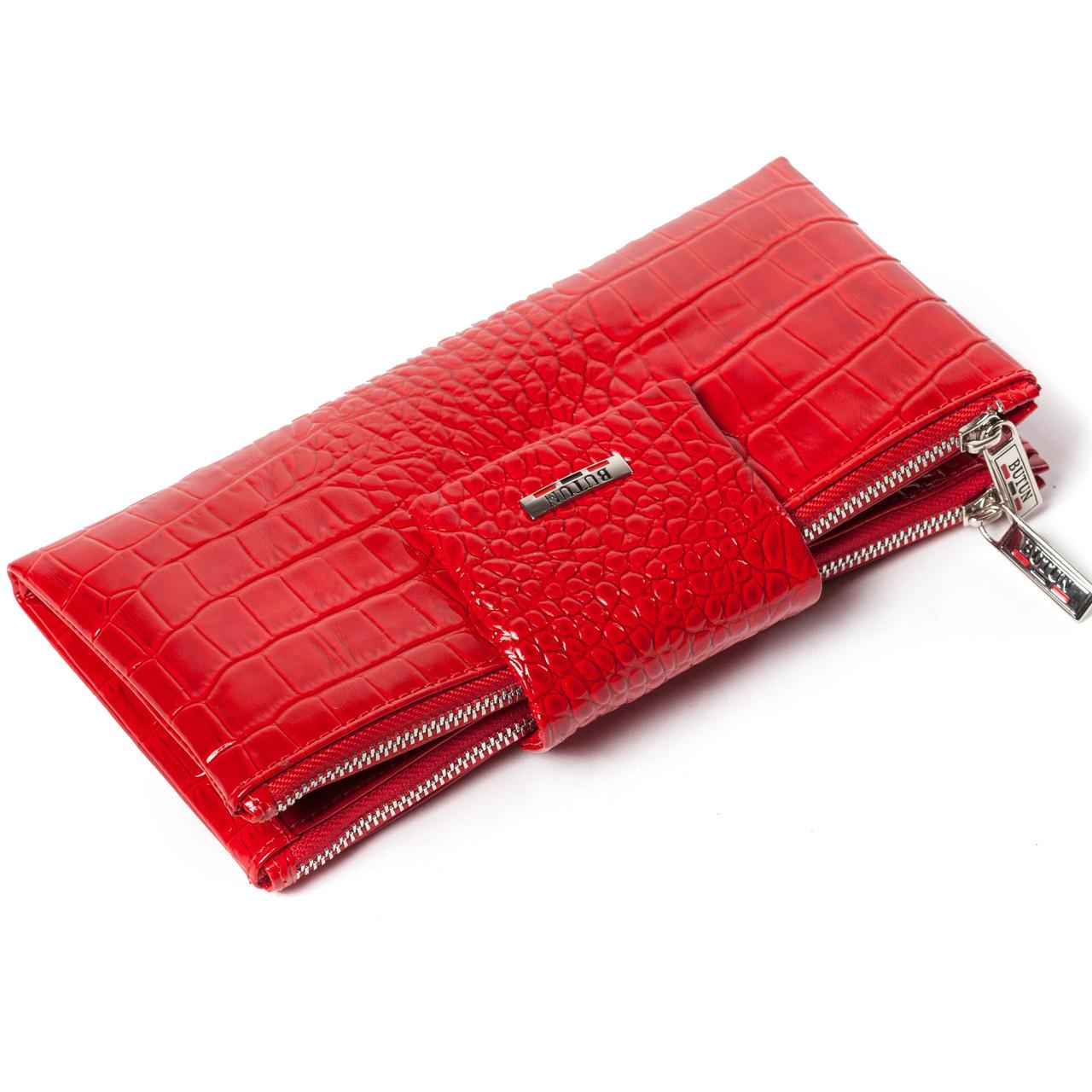 Большой женский кошелек BUTUN 507-006-006 кожаный красный