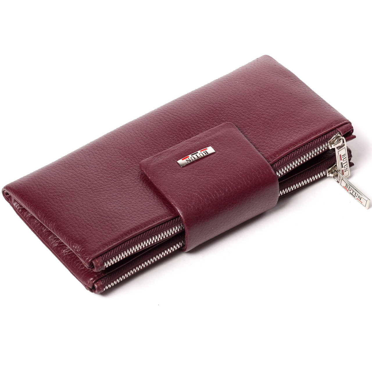 Большой женский кошелек BUTUN 507-004-002 кожаный бордовый