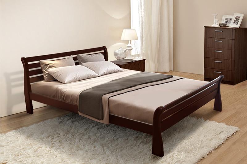 Кровать двуспальная из массива сосны Ретро-2 Микс мебель, цвет на выбор