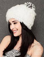 Зимняя шапка с мехом кролика