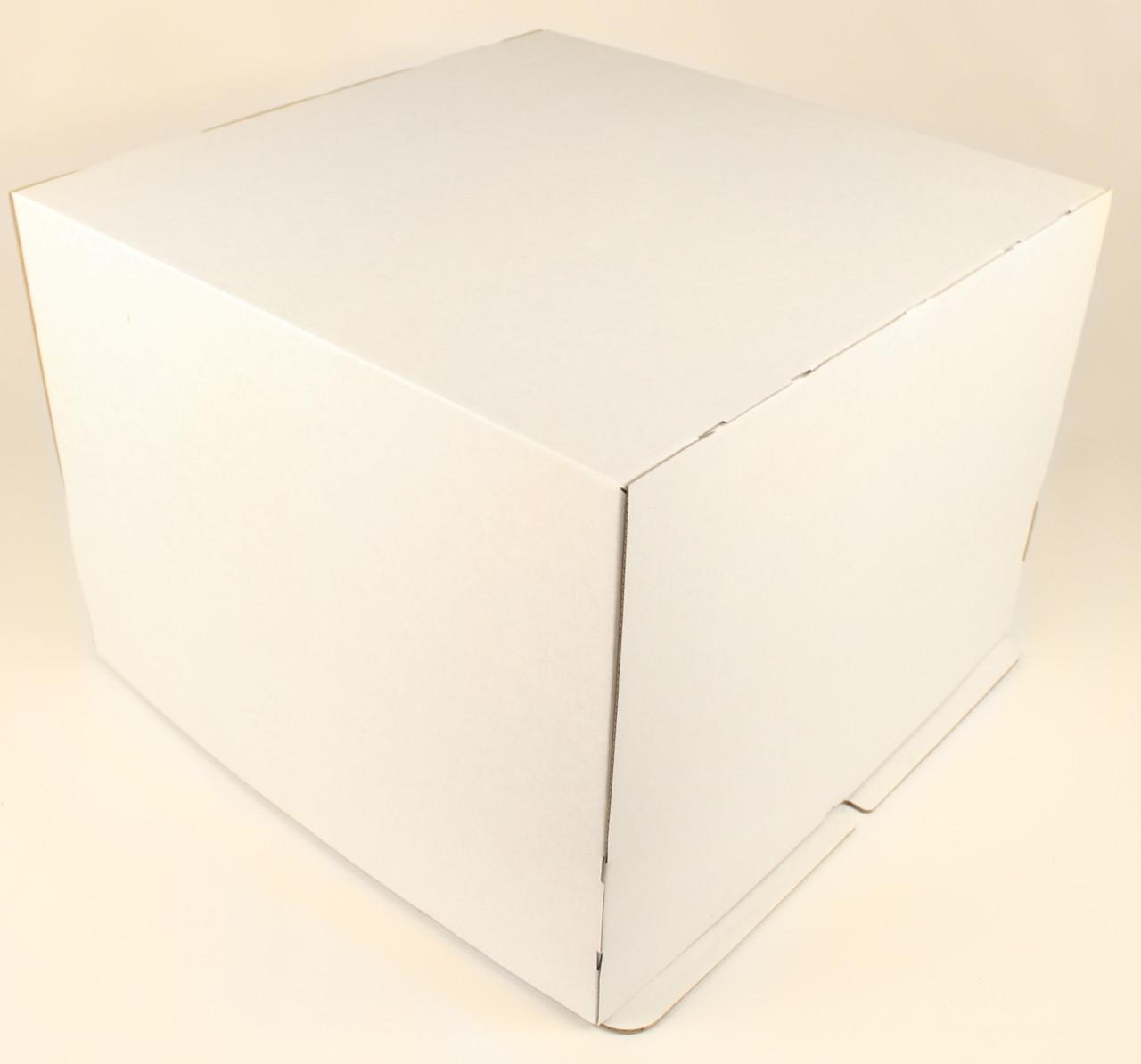 Коробка ГОФР / 400х400х300 мм / ГОФР-Белая / б.о. / для торт
