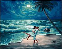 """Раскраска по номерам для взрослых и детей """"Свидание на берегу океана"""", 40х50 см, Без Коробки"""
