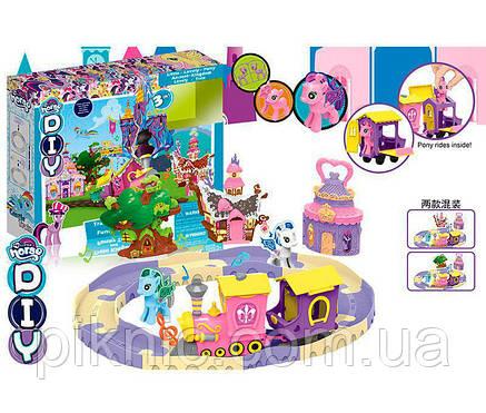 Замок Пони: железная дорога, паровозик музыкальный на батарейках + 1 фигурка пони. Подарок для девочки, фото 2