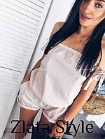 Женский летний короткий комбенизон, черный, белый, пудра, 42-44, 44-46, софт, с открытыми плечами, фото 1