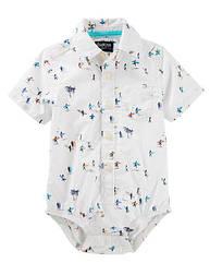 "Боди-рубашка для мальчика на кроткий рукав ""Серфинг"" OshKosh белая 12-18 мес/76-81 см"