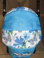 301 Кукольная коляска-трансформер 2в1 с переноской Adbor Mini Ring (голубой, бабочки не белом), фото 1