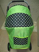 301 Кукольная коляска-трансформер 2в1 с переноской Adbor Mini Ring (салатовый, горошек на черном), фото 1
