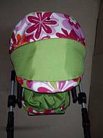 301 Кукольная коляска-трансформер 2в1 с переноской Adbor Mini Ring (салатовый, цветы разные), фото 1