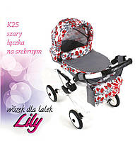 302 Кукольная коляска LILY TM Adbor (К25, серый, цветы новые на сером)
