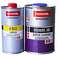 Лак автомобильный акриловый керамический HS NOVOL Novakryl 590 2+1 комплект с отвердителем 1,5 л