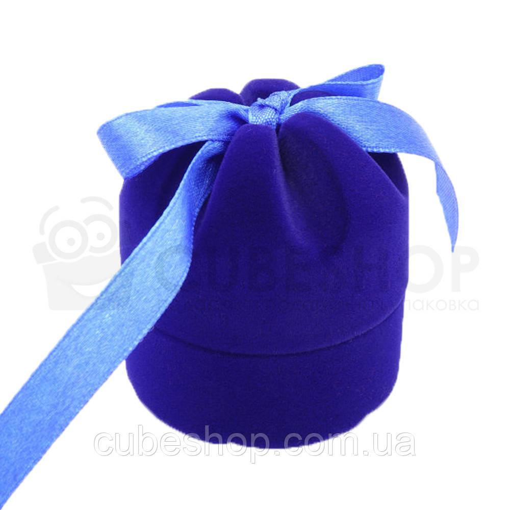 """Футляр для кольца """"Цилиндр с лентой"""" синий"""