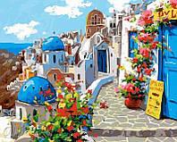 """Раскраска по номерам для взрослых и детей """"Весна в Санторини"""", 40х50 см, Без Коробки"""