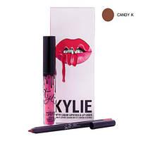 Набор для губ KYLIE: жидкая матовая помада + карандаш  (цвет Candy k)