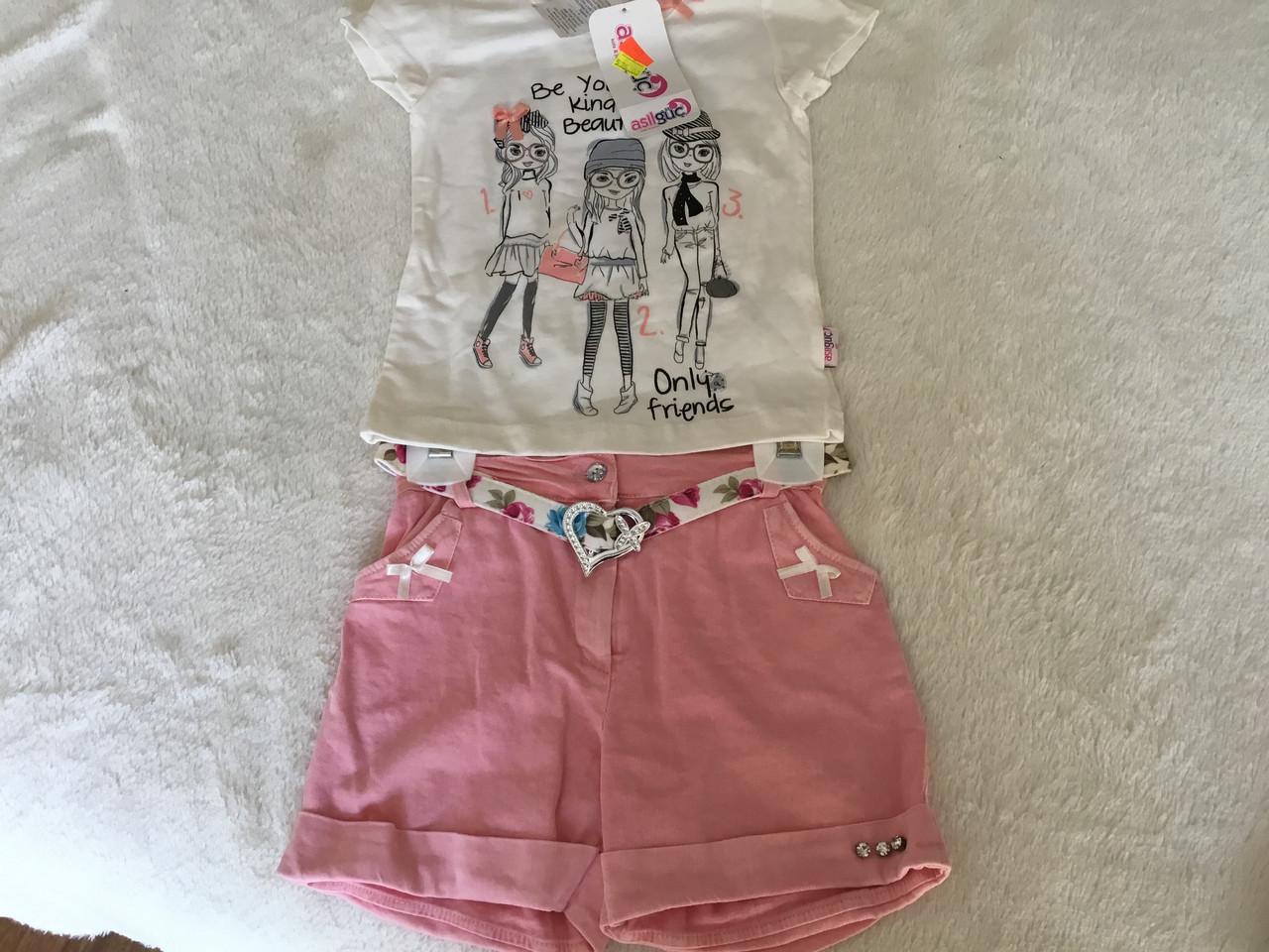 Костюм для девочки. Футболка и джинсовые шорты