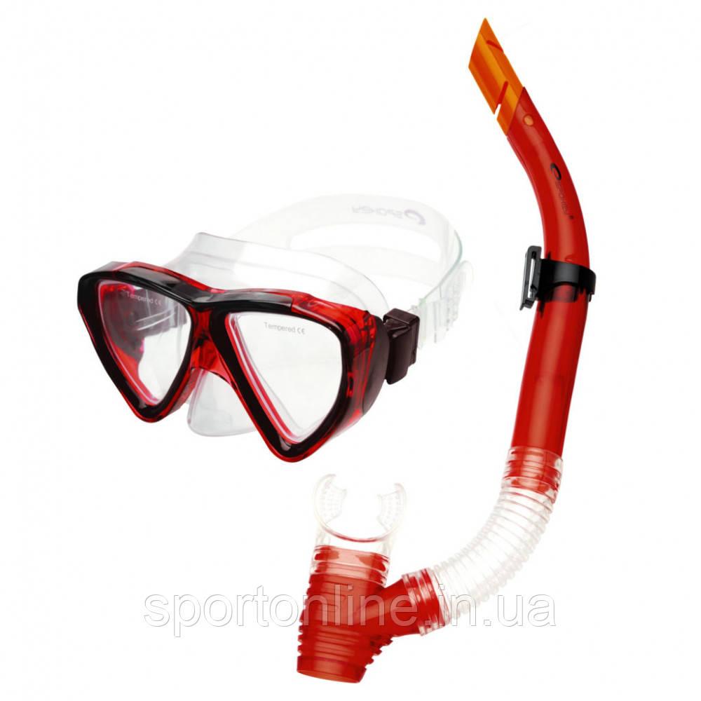 Маска для плавания Spokey Quarius Junior Red (original) с трубкой, детская
