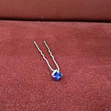 Шпилька з камінням для зачіски синій електрик, фото 2