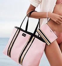 Сумка  Виктория Сикрет нежно-розовая с полосками