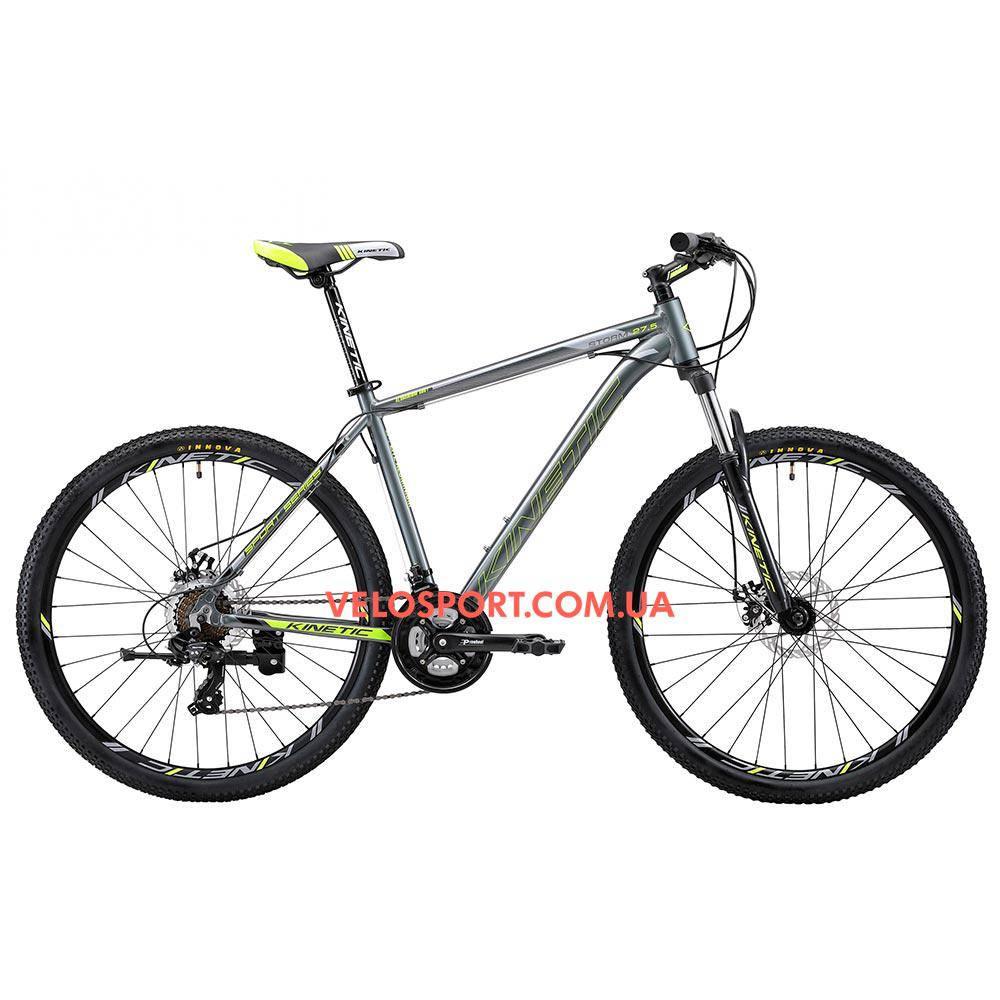 """Горный велосипед Kinetic Storm 27.5 дюймов 21"""" серо-зеленый"""