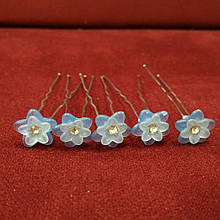 Шпилька для прически голубой цветок