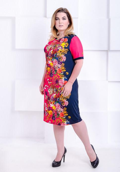 b9046612f4b Яркое платье большого размера Офелия малиновое с цветами (52) - цена ...