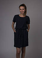 Платье женское синее принт цветной с карманами