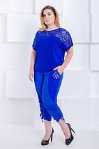 Модные бриджи женские большого размера Каприз - софт электрик  (52-66)