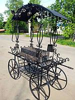 Мангал на колесах с крышей