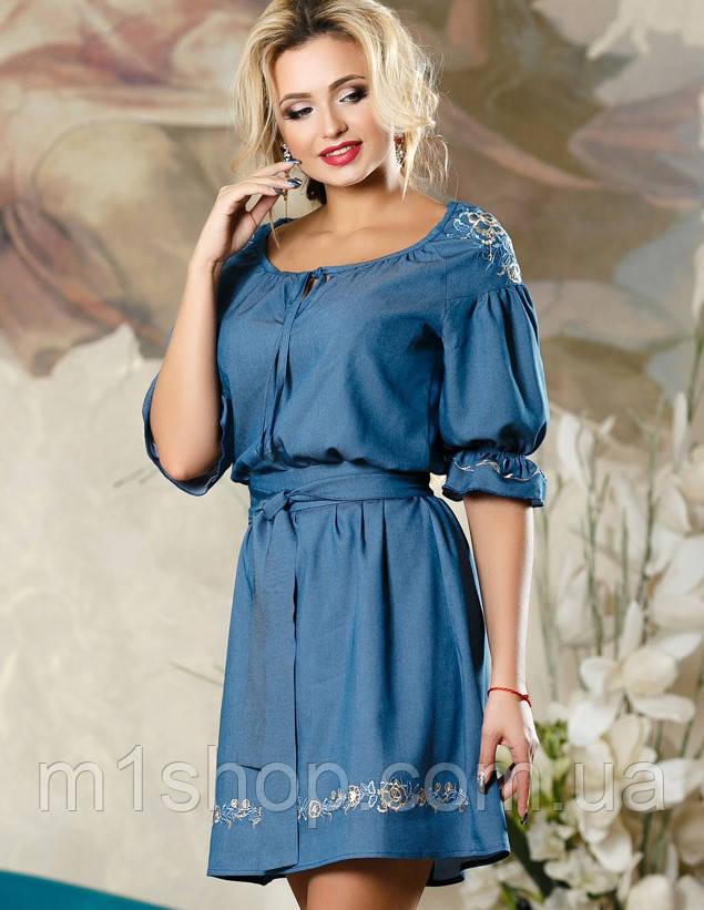 Женское коттоновое платье синего цвета (2183 svt)