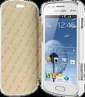 Чехол-книжка кожаный для Samsung Galaxy S Duos (S7562) белый