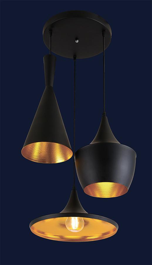 Подвесной светильник лофт на три разных плафона