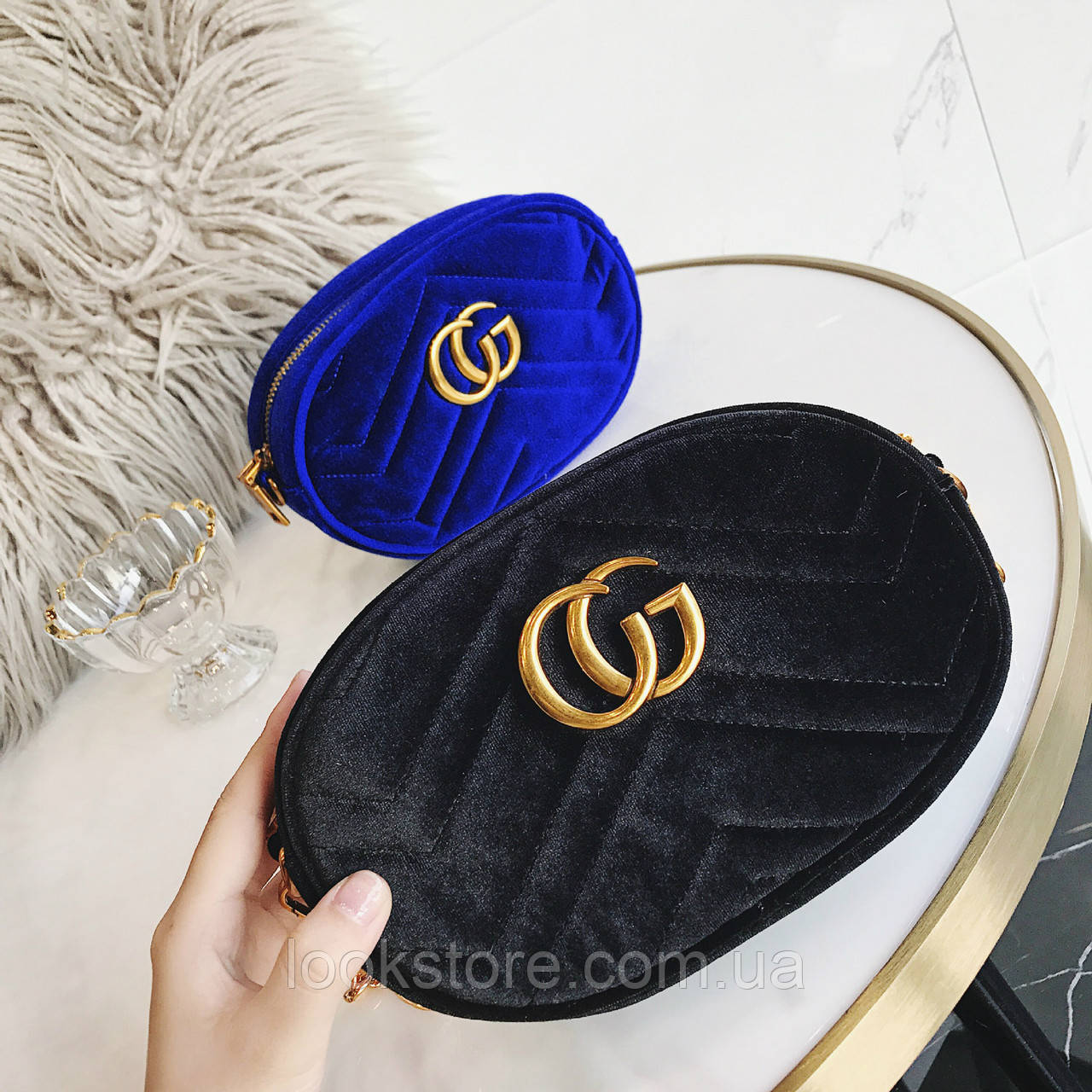b2555426091f LookStore.com.ua   Женская бархатная поясная сумка на пояс в стиле ...