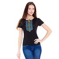Женская вышитая футболка. Гуцульский орнамент бирюза, фото 1