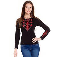 Вышитая женская футболка с длинным рукавом. Украинский орнамент красный