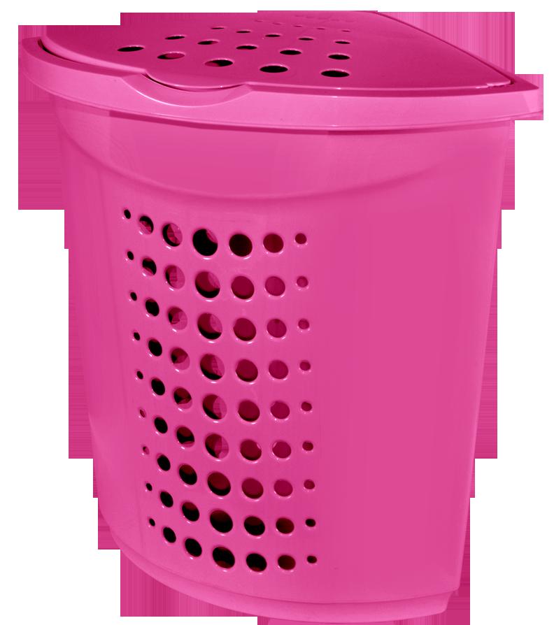 Корзина для белья 45л угловая розовая Алеана