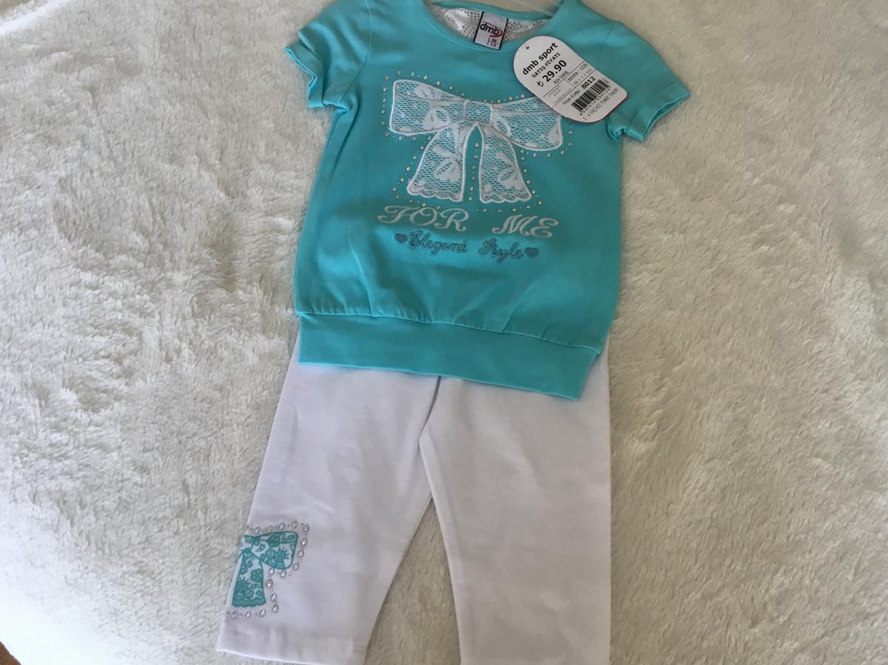 Летний костюм для девочки с бирюзовой футболкой