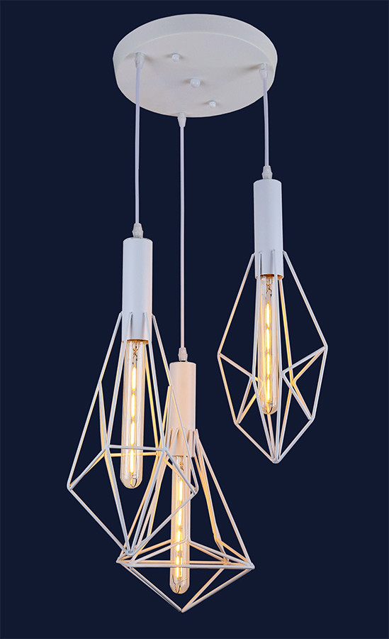Белый подвесной светильник в стиле лофт 761ST10-3 WH