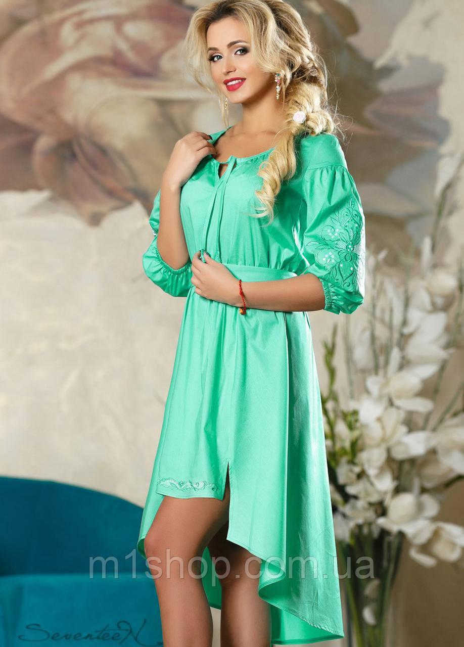 Короткое женское платье с удлиненной спинкой (2180-2182-2184 svt)