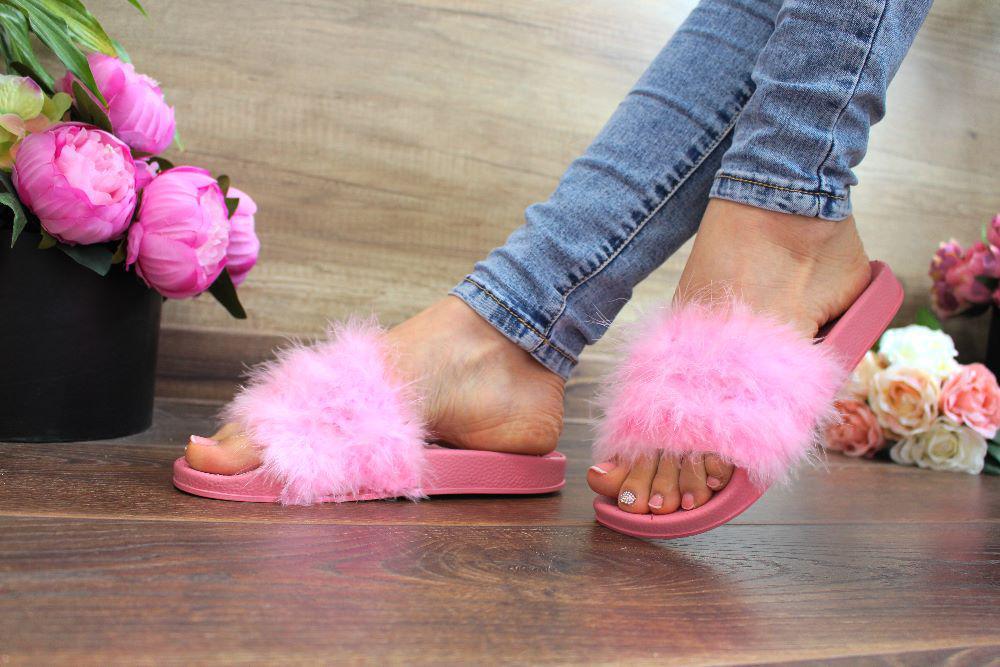 """Шлепанцы """"Pink fox""""(Натур.лебед.пух,Розовый)"""