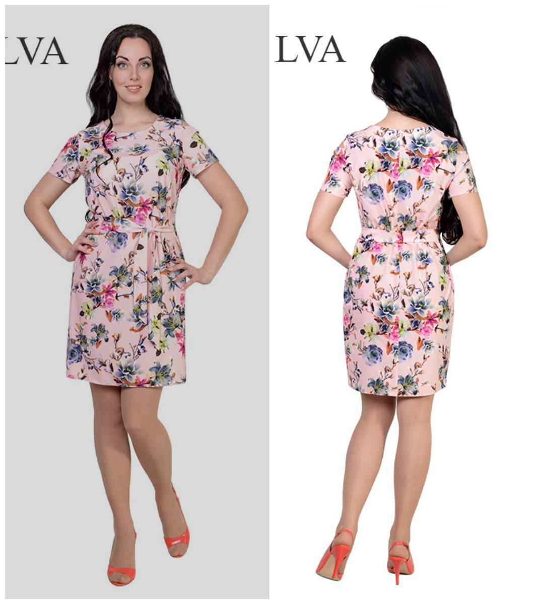Летнее легкое платье Мохито 8421-1  с цветочным принтом,46,48,50,52