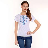 Вышитая футболка. Украинский орнамент синий, фото 1