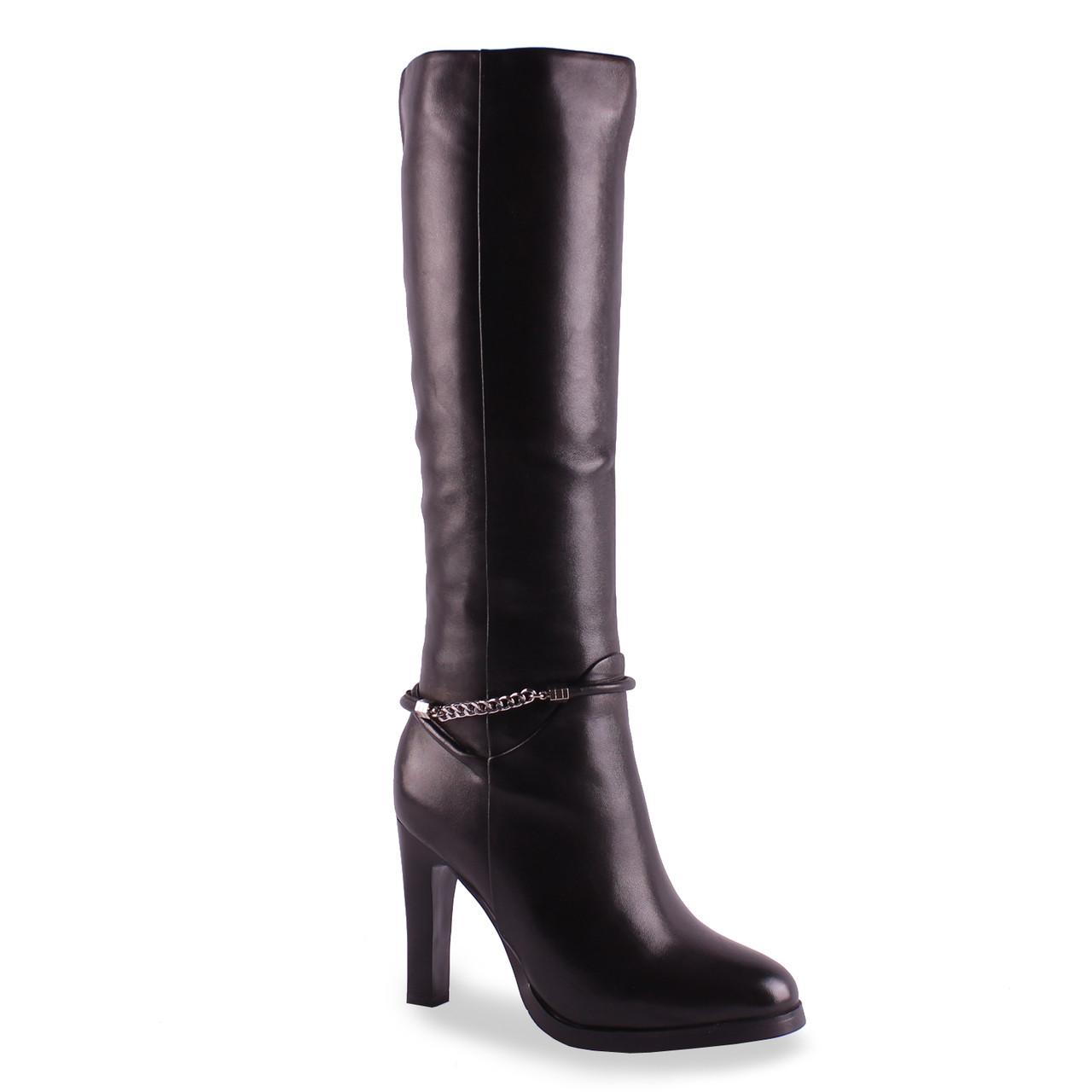 Модные женские сапоги Dina Fabiani (зимние, на красивом каблуке, пряжка, натуральная кожа, черные, теплые)