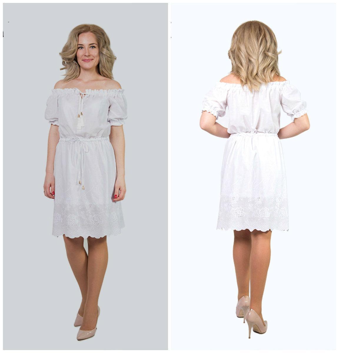 Летнее, воздушное, белое платье Серафима выполнено из ткани-батист с вышивкой, юбка на подкладке, 46-52