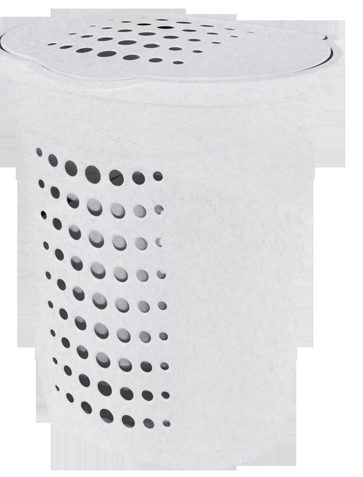 Корзина для белья 60л прямая  белый флок Алеана