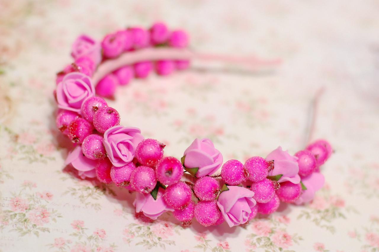 Обруч для волос розовый с цветами / ободок на голову / украшение