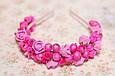 Обруч для волос розовый с цветами / ободок на голову / украшение, фото 2