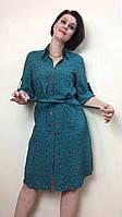 Платье-рубашка штапельная с поясом РП71, фото 1