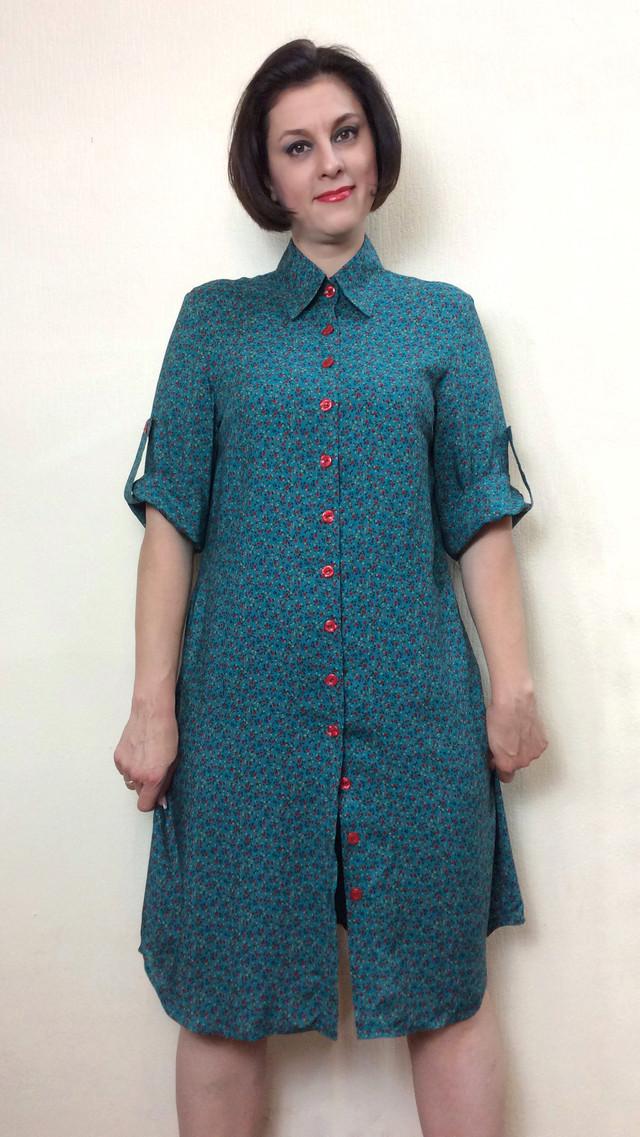 Платье-рубашка штапельная с поясом РП71
