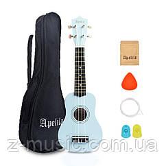 Укулеле сопрано Apelila (Чехол+Комплект струн+Медиатор+2 наконечника на пальцы) Голубой